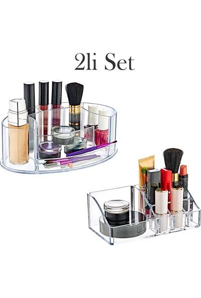 Eslight 7 ve 9 Bölmeli 2 Adet Makyaj Organizer Takı ve Kozmetik Düzenleyici Seti
