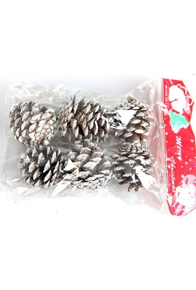 Met Çarşı Yılbaşı Çam Ağacı Süsü Karlı Kozalak 6 cm 6'lı