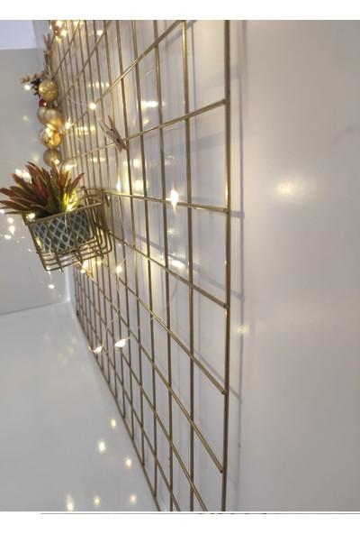 Ayalina Gold Tel Pano ve Sepet Duvar Askısı Çerçevesi 2'li Set 75*55 cm Ölçü