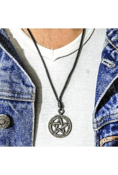 Spdesgns Jewelry Gümüş Renk Pentagram Star Trend Kolye