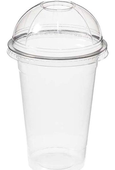 1001ambalaj Plastik Bardak 350 ml Şeffaf Bombe Kapaklı 40'lı