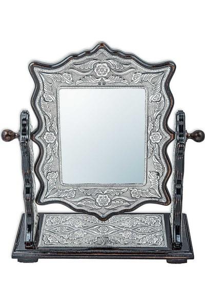 Pirmoda pirmoda 925 Ayar Gümüş Çiçek Desenli Kare Çift Taraflı Ayna