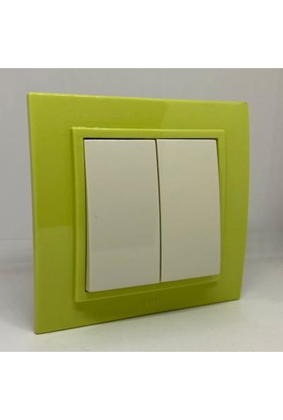Elbi Zena Komütatör Ikili Anahtar Çerçeveli Yeşil Renkli