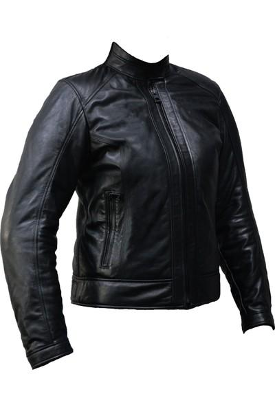 Vexo Moto Deri Kadın Mont Siyah
