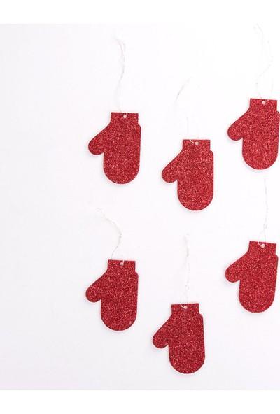 Veramaya Simli Eva Yılbaşı Ağaç Süsü Kırmızı Eldiven 6 Adet
