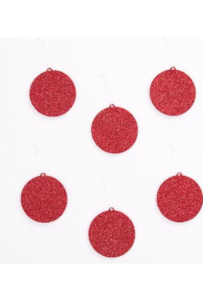 Veramaya Simli Eva Yılbaşı Ağaç Süsü Düz Top Kırmızı 6 Adet