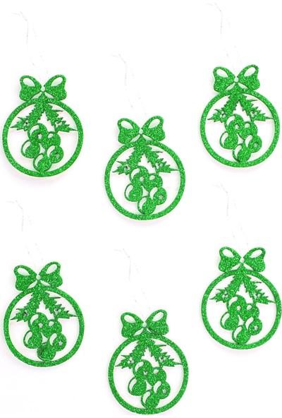 Veramaya Simli Eva Yılbaşı Ağaç Süsü Kurdele Detaylı Kozolak Yeşil 6 Adet