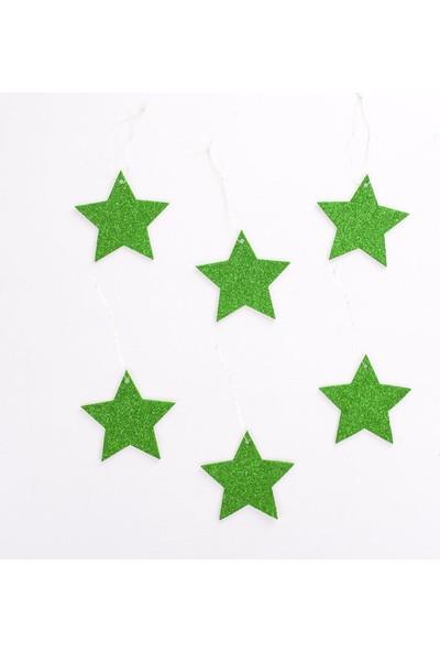 Veramaya Simli Eva Yılbaşı Ağaç Süsü Yeşil Yıldız 6 Adet