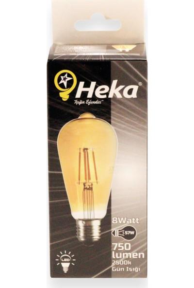 Heka LED Rustik Ampul 8 E27 W Gün Işığı