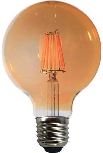 Heka G95 Filament Edison Tip Rustik Sarı Cam LED Ampul 8 W E27 Gün Işığı