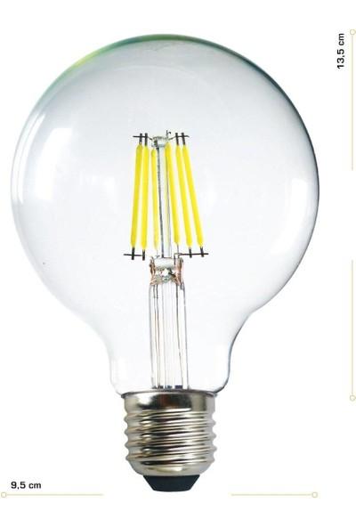 Heka G95 Filament Edison Tip Rustik LED Ampul 6 Watt E27 Beyaz Işık