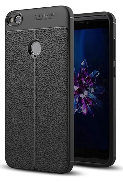 Huawei P9 Lite Mini Kılıf + Ekran Koruyucu Kamera Korumalı Deri Görünümlü Rugan Armor Tam Koruma Silikon Siyah