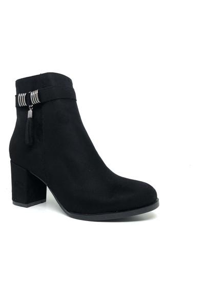 Ventes Kadın Siyah Süet Topuklu Kısa Çizme Bot 264101Z