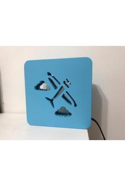Bebenis Mavi Uçak Gece Lambası Masaüstü