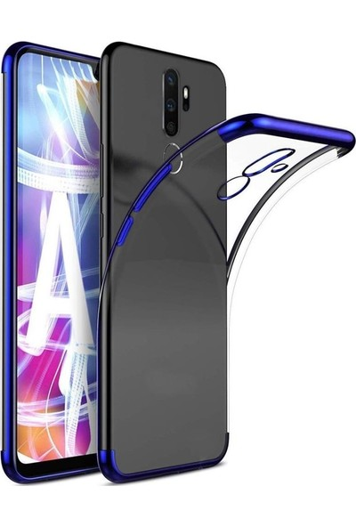 SmartBerry Oppo A5 2020 Kılıf Silikon Dört Köşeli Lazer Altın