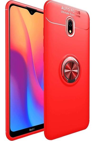 SmartBerry Xiaomi Redmi 8A Kılıf Silikon Ravel Soft Yüzüklü Standlı Kırmızı