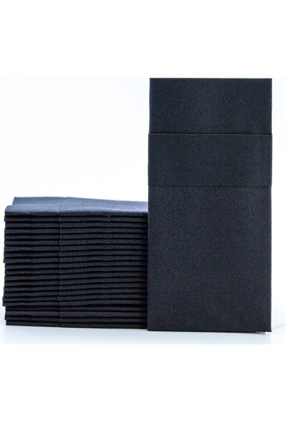 Siyah Kumaş Dokulu Cepli Peçete 50'li Paket