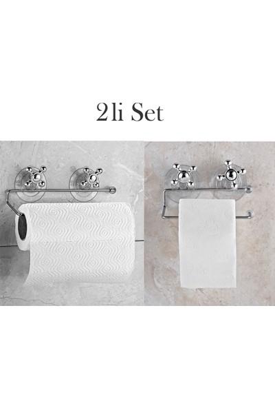 Eslight Vantuzlu Kağıt Wc ve Havlu Askı Aparatı 2 Li Set ES-503