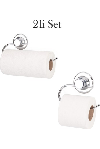 Eslight Vantuzlu Kağıt Wc ve Havlu Askı Aparatı 2 Li Set ES-502