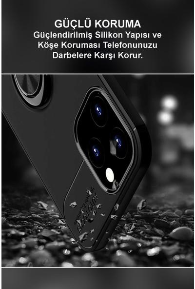 Kzy Samsung Galaxy M21 Kılıf Renkli Yüzüklü Manyetik Silikon Kapak Siyah - Siyah