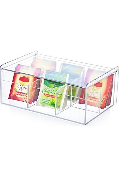 Herkeseuygun Çay Kutusu 6 Bölmeli Kapaklı Poşet Bitki Çayı Saklama Kabı