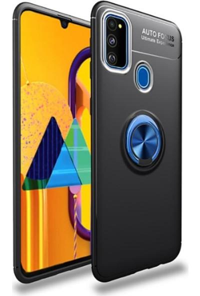 Kzy Samsung Galaxy M21 Kılıf Renkli Yüzüklü Manyetik Silikon Kapak Siyah - Mavi