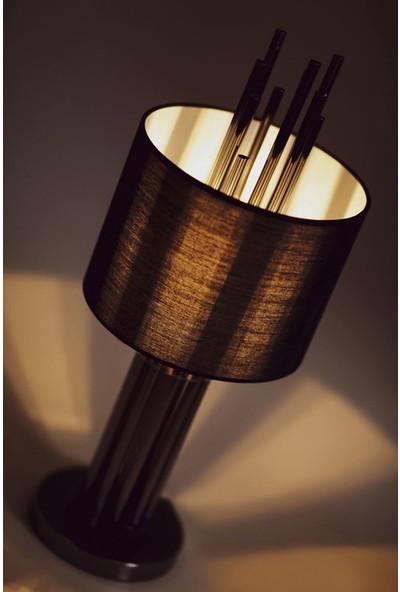 Luzarana Tores Platin Metal Abajur Masa Lambası