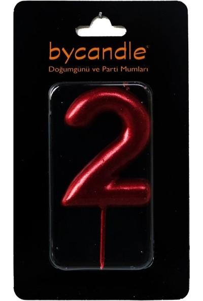 Bycandle Rakam Mum 2 Yaş Kırmızı