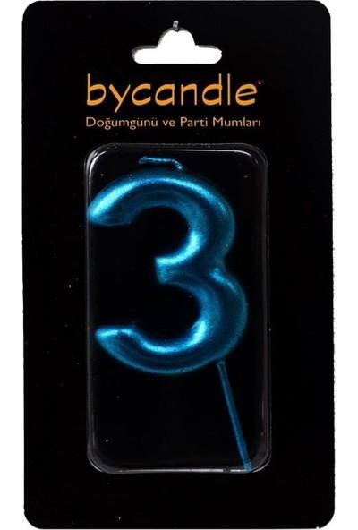 Bycandle Rakam Mum 3 Yaş Mavi