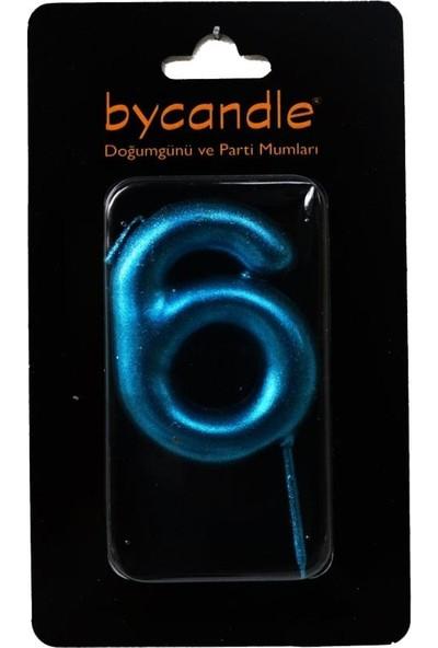 Bycandle Rakam Mum 6 Yaş Mavi