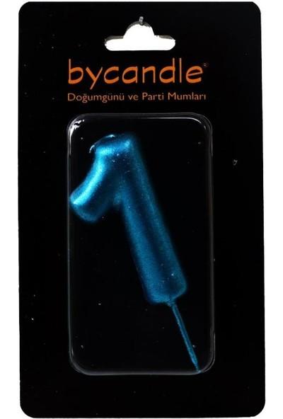 Bycandle Rakam Mum 1 Yaş Mavi