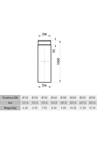 Darco Soba Borusu, Çelik Sac, Antrasit, 2 mm Kalınlık , 18 cm Çap , 100 cm Boru