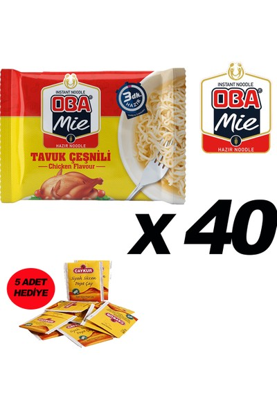 Oba Mie Noodle Hazır Makarna 75GR Tavuk '' 40 Adet '' (5 Adet Çaykur Altın Süzen Poşet Bardak Çay)