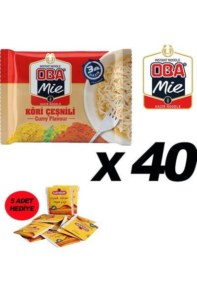 Oba Mie Noodle Hazır Makarna 75GR Köri '' 40 Adet '' (5 Adet Çaykur Altın Süzen Poşet Bardak Çay)