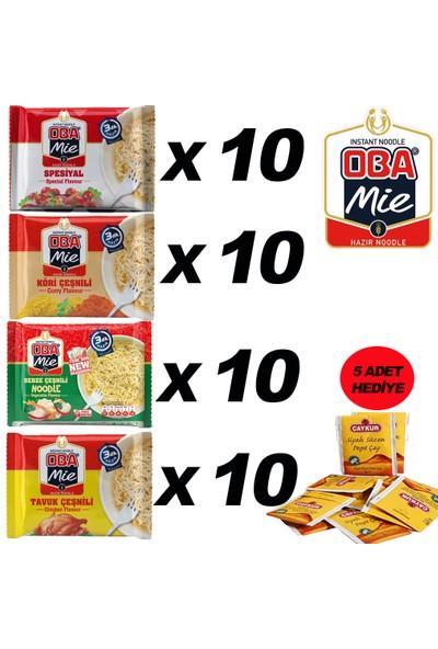 Oba Mie Noodle Hazır Makarna 75GR Karma'' 40 Adet '' (5 Adet Çaykur Altın Süzen Poşet Bardak Çay)