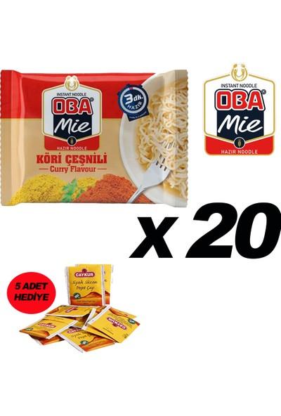 Oba Mie Noodle Hazır Makarna 75GR Köri '' 20 Adet '' (5 Adet Çaykur Altın Süzen Poşet Bardak Çay)