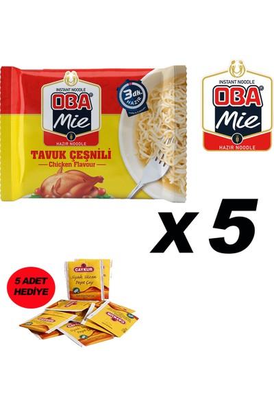 Oba Mie Noodle Hazır Makarna 75GR Tavuk '' 5 Adet '' (5 Adet Çaykur Altın Süzen Poşet Bardak Çay)