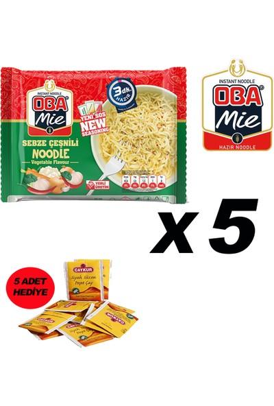 Oba Mie Noodle Hazır Makarna 75GR Sebze '' 5 Adet '' (5 Adet Çaykur Altın Süzen Poşet Bardak Çay)