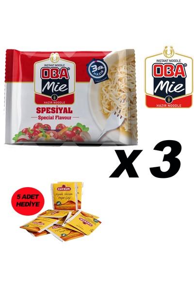 Oba Mie Noodle Hazır Makarna 75GR Specıal '' 3 Adet '' (5 Adet Çaykur Altın Süzen Poşet Bardak Çay)