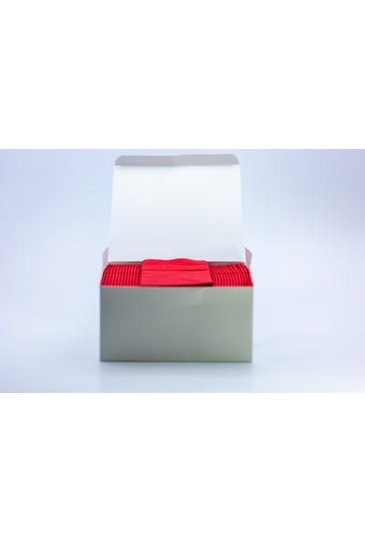 AIRLAID Kırmızı Kumaş Dokulu Cepli Peçete 40X40 1/8 50'li Paket