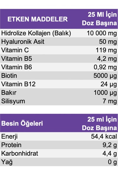 Collagen Pure Peptide 10 000 mg (Balık) – Tip I & Tip III- Sıvı Form - 500 ml