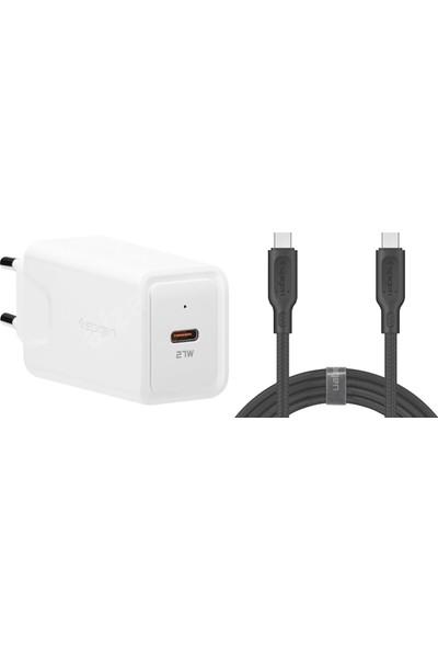 Spigen Steadiboost 27W USB-C Hızlı Şarj Cihazı + DuraSync 60W USB-C to USB-C Kablo 2in1 Şarj Aleti Paketi