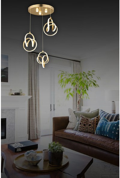Luna Lighting Modern Luxury 3lü Sarkıt LED Avize Gold Sarı