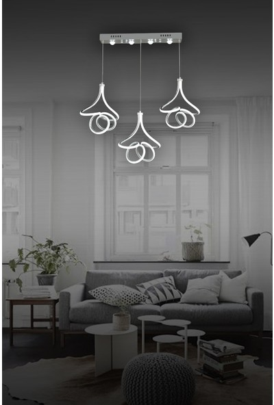 Luna Lighting Modern Luxury 3lü Sarkıt LED Avize Krom