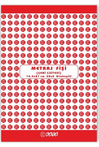 Kaya Metraj Fişi Çeki Listesi A5 2 Nüsha Otokopili Tekstiller Için 14,5 x 21 cm 5'li