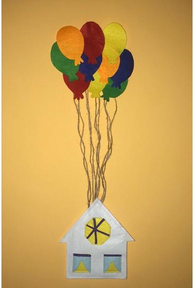 Nemisia Balonlu Uçan Ev Duvar Süsü