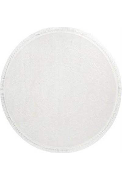 Bahariye Halı Ruby 114X114 9688 Beyaz Beyaz Daire