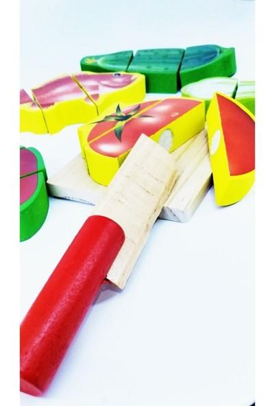 Ayas Eğitici Oyuncak Eğitici Oyuncak Ahşap Meyve Sebze Kesme Oyunu Çocuk Akıl Oyunu