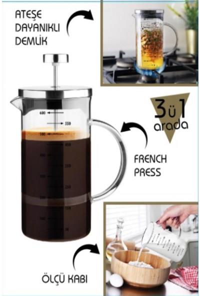 VIPGROSS Cambu 3'ü Bir Arada French Press 600 ml