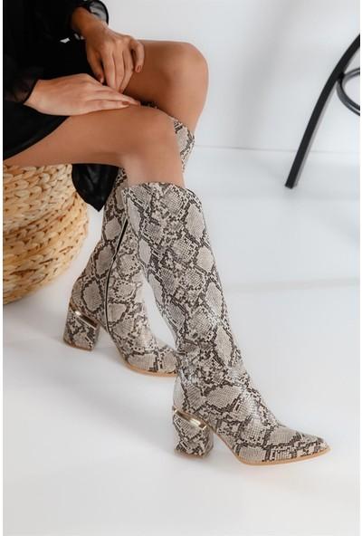 Shoetek 1144 Kadın Çizme Leopar Cilt